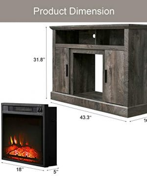 PatioFestival Electric Fireplace TV Stand Entertainment Center Corner Fire Place Heaters Tv Console With Generic Rustic Furniture For TVs Up To 50 Wide Rustic 0 5 300x360