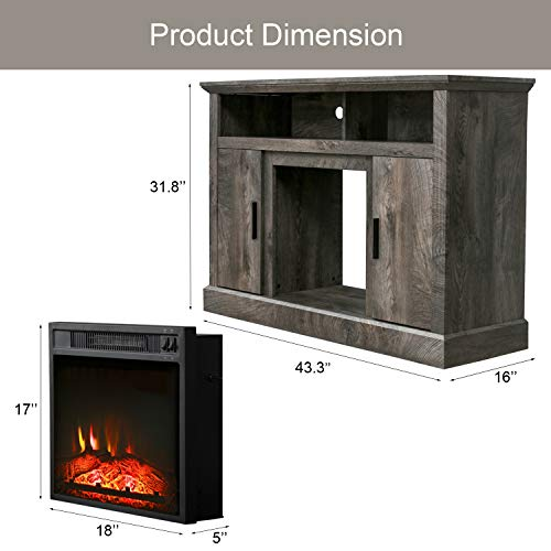 PatioFestival Electric Fireplace TV Stand Entertainment Center Corner Fire Place Heaters Tv Console With Generic Rustic Furniture For TVs Up To 50 Wide Rustic 0 5