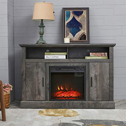 PatioFestival Electric Fireplace TV Stand Entertainment Center Corner Fire Place Heaters Tv Console With Generic Rustic Furniture For TVs Up To 50 Wide Rustic 0