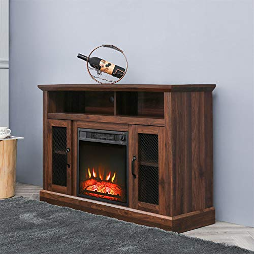 PatioFestival Fireplace TV Stand Electric Fire Place Heaters Entertainment Center Corner Tv Console With Fireplaces For TVs Up To 50 Wide Espresso 0 1