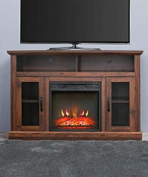 PatioFestival Fireplace TV Stand Electric Fire Place Heaters Entertainment Center Corner Tv Console With Fireplaces For TVs Up To 50 Wide Espresso 0 300x360