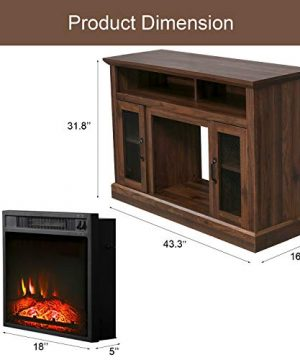 PatioFestival Fireplace TV Stand Electric Fire Place Heaters Entertainment Center Corner Tv Console With Fireplaces For TVs Up To 50 Wide Espresso 0 4 300x360