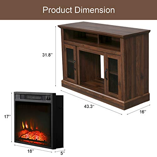 PatioFestival Fireplace TV Stand Electric Fire Place Heaters Entertainment Center Corner Tv Console With Fireplaces For TVs Up To 50 Wide Espresso 0 4