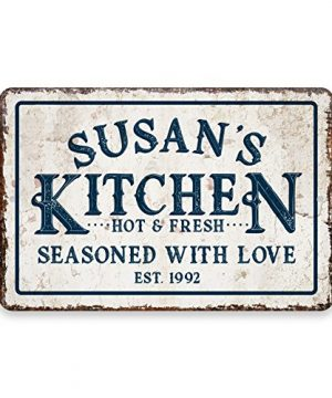 Pattern Pop Personalized Vintage Distressed Look Kitchen Seasoned With Love Metal Room Sign 0 300x360