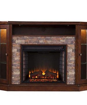 Pemberly Row Corner LED Fireplace TV Stand In Espresso 0 1 300x360