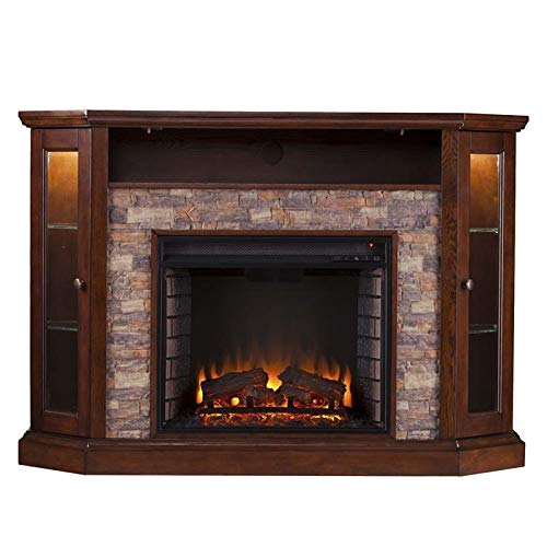 Pemberly Row Corner LED Fireplace TV Stand In Espresso 0 1