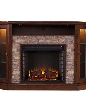 Pemberly Row Corner LED Fireplace TV Stand In Espresso 0 2 300x360