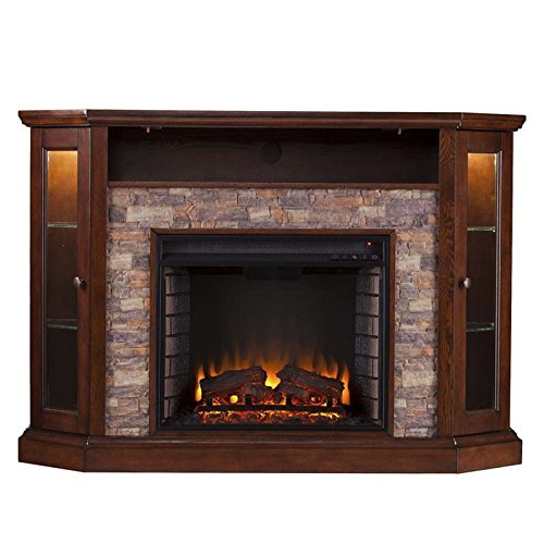 Pemberly Row Corner LED Fireplace TV Stand In Espresso 0 2