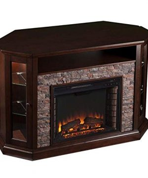 Pemberly Row Corner LED Fireplace TV Stand In Espresso 0 300x360