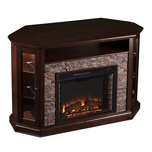 Pemberly Row Corner LED Fireplace TV Stand In Espresso 0