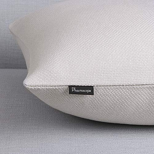Phantoscope Farmhouse Throw Pillow Covers Triple Button Vintage Linen Decorative Pillow Cases For Couch Bed And Chair Off White 18 X 18 Inches 45 X 45 Cm Pack Of 2 0 3