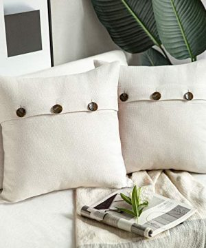 Phantoscope Farmhouse Throw Pillow Covers Triple Button Vintage Linen Decorative Pillow Cases For Couch Bed And Chair Off White 18 X 18 Inches 45 X 45 Cm Pack Of 2 0 300x360