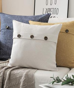 Phantoscope Farmhouse Throw Pillow Covers Triple Button Vintage Linen Decorative Pillow Cases For Couch Bed And Chair Off White 18 X 18 Inches 45 X 45 Cm Pack Of 2 0 4 300x360