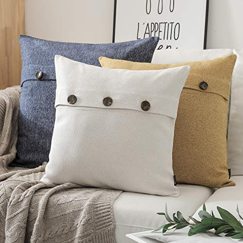 Phantoscope Farmhouse Throw Pillow Covers Triple Button Vintage Linen Decorative Pillow Cases For Couch Bed And Chair Off White 18 X 18 Inches 45 X 45 Cm Pack Of 2 0 4