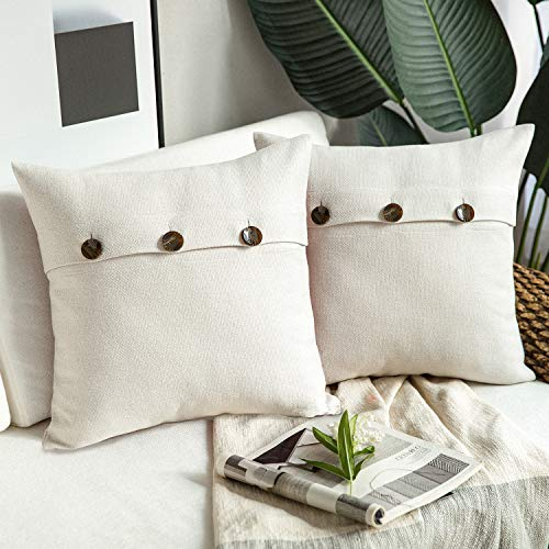 Phantoscope Farmhouse Throw Pillow Covers Triple Button Vintage Linen Decorative Pillow Cases For Couch Bed And Chair Off White 18 X 18 Inches 45 X 45 Cm Pack Of 2 0