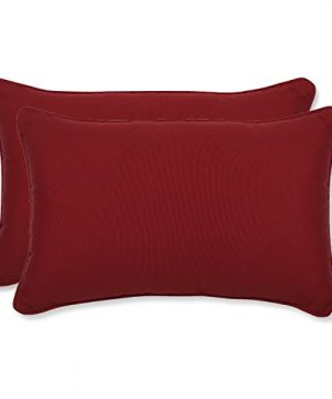 Pillow Perfect Decorative Red Solid Toss Pillows Rectangle 2 Pack 0 300x360