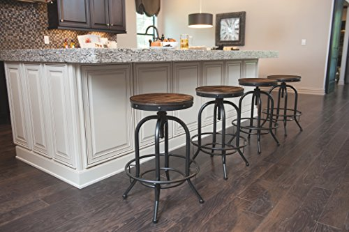 Pioneer Square Dane Metal And Wood Counter Height Swivel Bar Stool Set Of 2 Bold Brandy 0 1