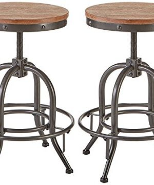 Pioneer Square Dane Metal And Wood Counter Height Swivel Bar Stool Set Of 2 Bold Brandy 0 300x360