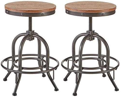 Pioneer Square Dane Metal And Wood Counter Height Swivel Bar Stool Set Of 2 Bold Brandy 0