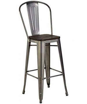 Pioneer Square Midvale 30 Inch Bar Height Metal Stool With Back Rest Set Of 2 Silver Gray 0 300x360