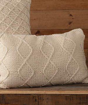 Piper Classics Cozy Knit Throw Pillow Cover 12 X 20 Machine Knitted Diamond Stripe Pattern Modern Rustic Farmhouse Dcor Cream Yarn Accent Pillow 0 300x360