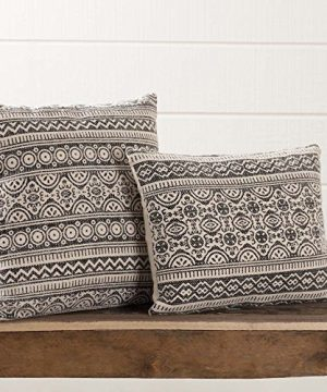 Piper Classics Graphic Gray Throw Pillow With Filler 18 X 18 Boho Chic Tribal Modern Bohemian Farmhouse Geometic Printed Textured Ethnic Tribal Design 100 Cotton 0 300x360