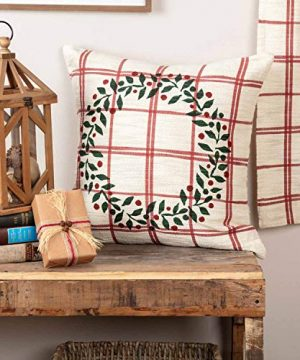 Piper Classics Red Double Windowpane Throw Pillow Cover 20 X 20 Rustic Farmhouse Country Natural Cream Cranberry Red Woven Dcor Accent WPrinted Green Christmas Wreath 0 300x360