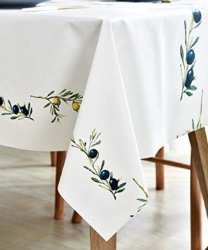 Plastic Tablecloth Wipeable Small Square Vinyl Spillproof Oilcloth Party Tablecloths Farmhouse Luau Dining Tablecloth Beige Olive Fruit 54x54 Inch 0 0 300x360