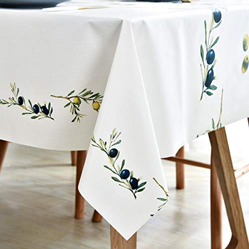 Plastic Tablecloth Wipeable Small Square Vinyl Spillproof Oilcloth Party Tablecloths Farmhouse Luau Dining Tablecloth Beige Olive Fruit 54x54 Inch 0 0