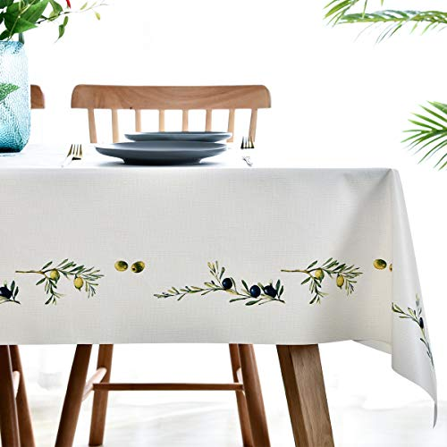 Plastic Tablecloth Wipeable Small Square Vinyl Spillproof Oilcloth Party Tablecloths Farmhouse Luau Dining Tablecloth Beige Olive Fruit 54x54 Inch 0 1