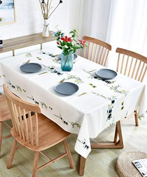 Plastic Tablecloth Wipeable Small Square Vinyl Spillproof Oilcloth Party Tablecloths Farmhouse Luau Dining Tablecloth Beige Olive Fruit 54x54 Inch 0 2 300x360