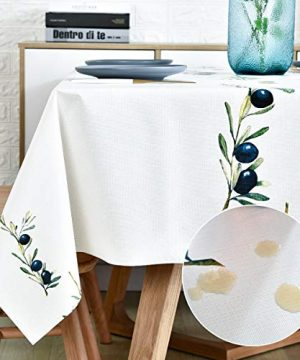 Plastic Tablecloth Wipeable Small Square Vinyl Spillproof Oilcloth Party Tablecloths Farmhouse Luau Dining Tablecloth Beige Olive Fruit 54x54 Inch 0 300x360