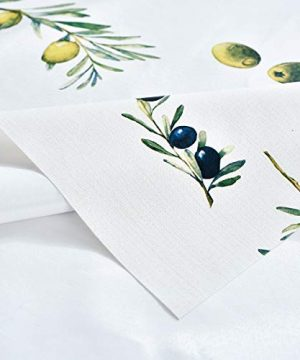 Plastic Tablecloth Wipeable Small Square Vinyl Spillproof Oilcloth Party Tablecloths Farmhouse Luau Dining Tablecloth Beige Olive Fruit 54x54 Inch 0 4 300x360