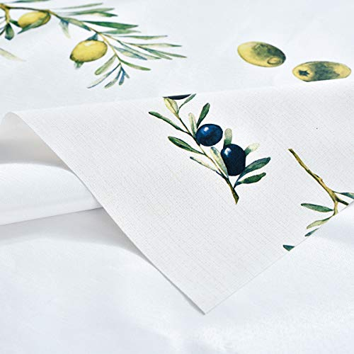 Plastic Tablecloth Wipeable Small Square Vinyl Spillproof Oilcloth Party Tablecloths Farmhouse Luau Dining Tablecloth Beige Olive Fruit 54x54 Inch 0 4