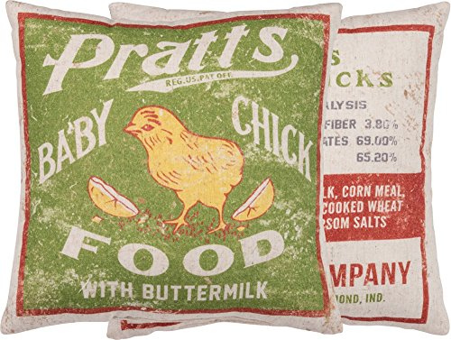 Primitives By Kathy Vintage Feed Sack Style Baby Chick Food Throw Pillow 0 0
