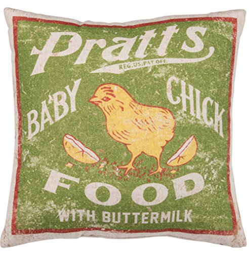 Primitives By Kathy Vintage Feed Sack Style Baby Chick Food Throw Pillow 0