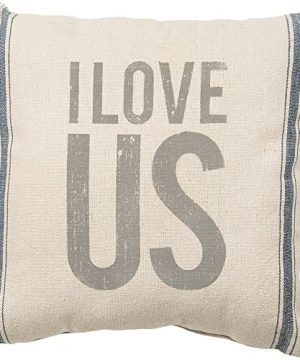 Primitives By Kathy Vintage Flour Sack Style I Love Us Throw Pillow 15 Inch Square 0 300x360