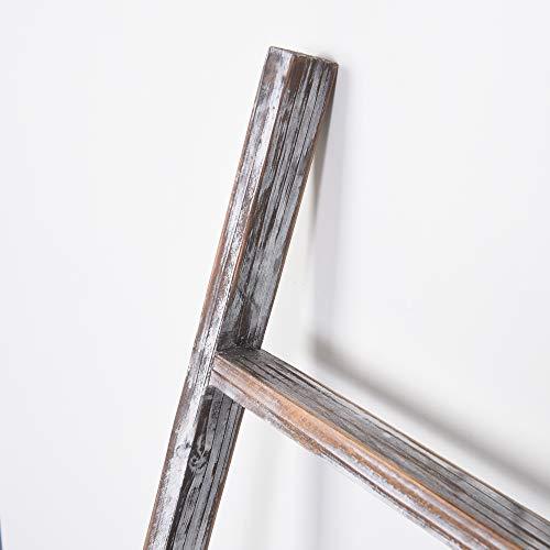 RHF 48 Blanket Ladder Decorative LadderLadder ShelfLeaning ShelfDecorative Ladder For Bathroom Ladder Shelf Stand Rustic Chic Farmhouse Wood LadderQuilt RackNo Assembly RequiredWhite 0 1