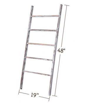 RHF 48 Blanket Ladder Decorative LadderLadder ShelfLeaning ShelfDecorative Ladder For Bathroom Ladder Shelf Stand Rustic Chic Farmhouse Wood LadderQuilt RackNo Assembly RequiredWhite 0 300x360