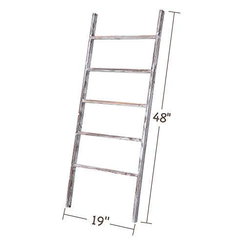 RHF 48 Blanket Ladder Decorative LadderLadder ShelfLeaning ShelfDecorative Ladder For Bathroom Ladder Shelf Stand Rustic Chic Farmhouse Wood LadderQuilt RackNo Assembly RequiredWhite 0