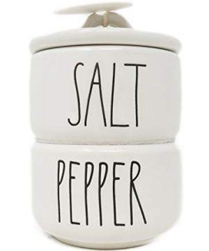 Rae Dunn By Magenta 2 Piece SALT PEPPER Stacking Ceramic LL Salt Pepper Cellars Set 0 300x360