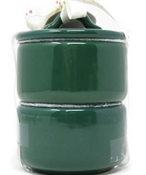 Rae Dunn By Magenta 2 Piece SALT PEPPER Stacking Green Ceramic LL Salt Pepper Cellars Set With White Letters 2019 Limited Edition 0 0 300x360