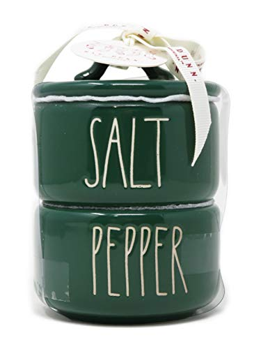 Rae Dunn By Magenta 2 Piece SALT PEPPER Stacking Green Ceramic LL Salt Pepper Cellars Set With White Letters 2019 Limited Edition 0