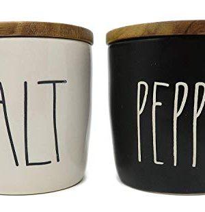 Rae Dunn By Magenta 2 Piece SALTPEPPER Ceramic LL Salt Pepper Cellar 0 0 300x310