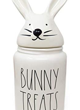 Rae Dunn By Magenta BUNNY TREATS Large Size 14 Inch Canister With Bunny Ears Lid 2020 Limited Edition 0 260x360