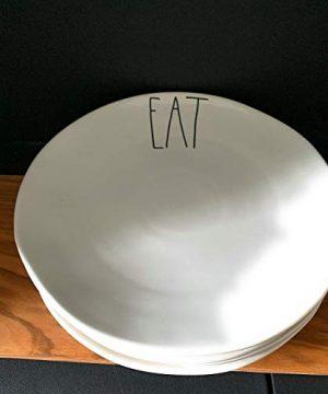Rae Dunn Dinner Plate Set Of 4 EAT 11 Ceramic LL Large Letter Pottery 0 300x360