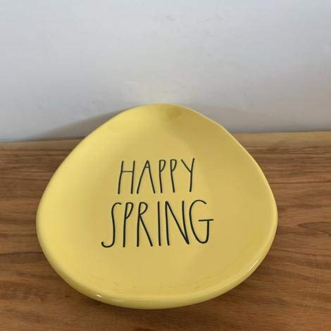 Rae Dunn HAPPY SPRING Egg Easter YELLOW Ceramic Plate 8 X 6 0