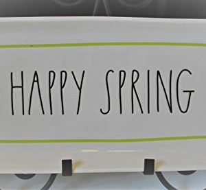 Rae Dunn HAPPY SPRING In Large Letters With Green Line Outline Easter 14 Inch Serving Dinner Dessert Appetizer Platter Tray By Magenta 0 300x277