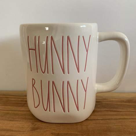 Rae Dunn HUNNY BUNNY Easter Mug Pink Writing Ceramic Very Rare 0