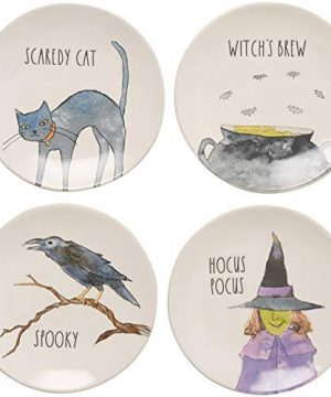 Rae Dunn Halloween Hauntings Scaredy Cat Witchs Brew Spooky Hocus Pocus Plate Set Of 4 Appetizer Dessert Plates 0 300x360
